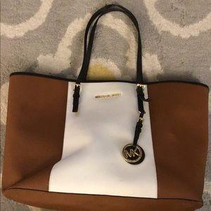 Medium Brown & White Leather Michael Kors Tote